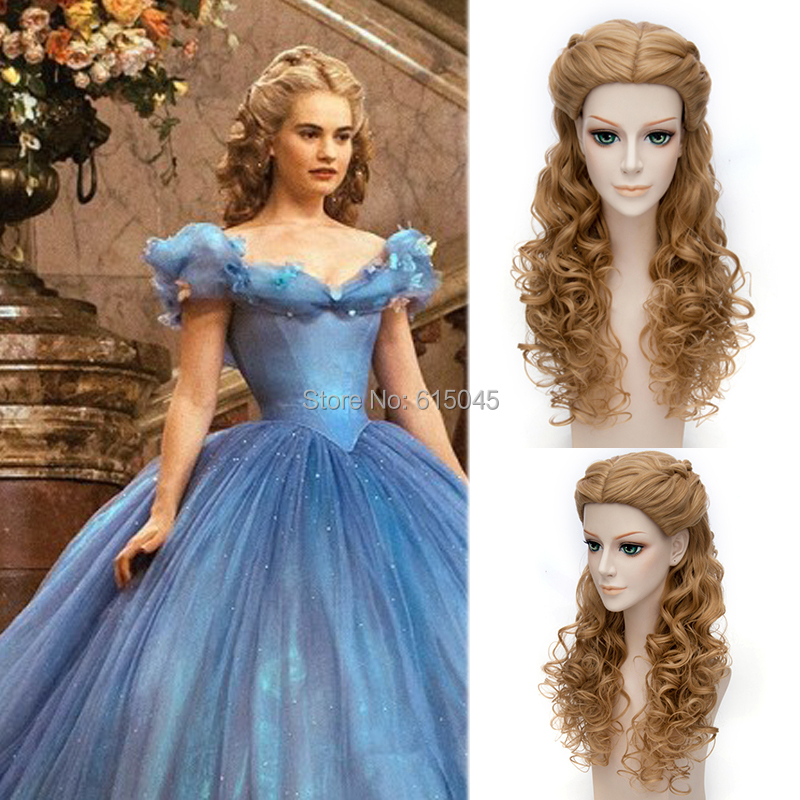 2015 New Movie Princess Cinderella Wig Long Curly Brown Anime Cosplay Synthetic Purecas Harajuku Hair - Aicos store