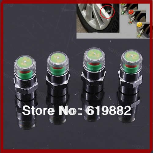 A31 New 4PCS Car Auto Tire Pressure Monitor Valve Stem Caps Sensor Indicator Eye Alert Hot SALE!