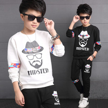Children's clothing spring big boys shirt + pant 2pcs,kids cotton casual sweater twinset baby boy clothes Europe top 5-15Y(China (Mainland))