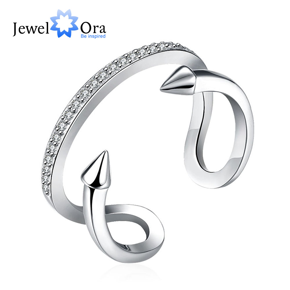 Adjustable Ring Solid 925 Sterling Silver Jewelry Europe Design Styles Cubic Zirconia Rings For Women New (JewelOra RI102181)(China (Mainland))