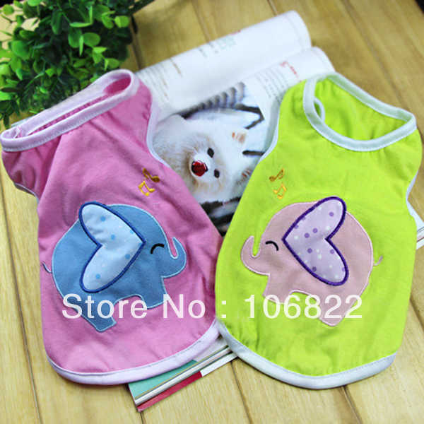 Pet Dog Elephant Printed Summer Vest Doggy Clothes Top Apparel T Shirt(China (Mainland))