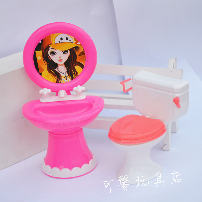 Kid's play house toys Doll Accessories Doll's Plastic Wash basin + toilet set Kali dolls dollhouse laundry room accessories(China (Mainland))