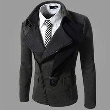2015 Man Inclined Zipper Turn-down Collar Jacket Business Coat Patchwork Unique Outerwear Solid Men Fashion Clothing