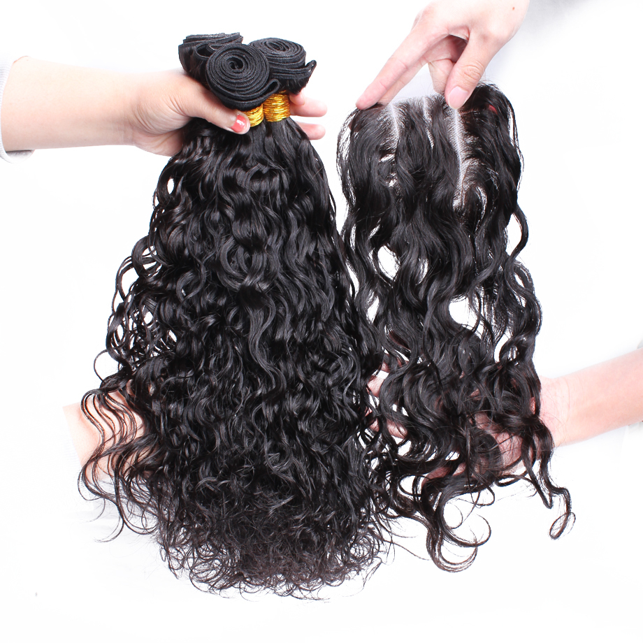 Queen hair products 5A unprocessed Malaysian virgin hair water wave free part closure with hair bundles, natural black 5 pcs/lot<br><br>Aliexpress