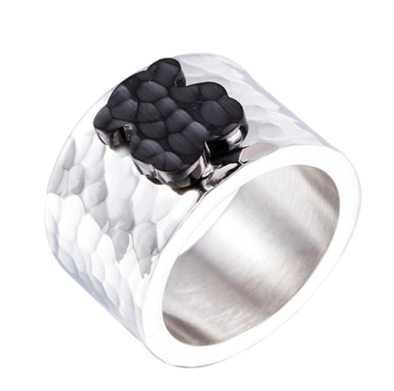 silver plated black bear gear ring with good quality with better price wedding party shopping ring(China (Mainland))
