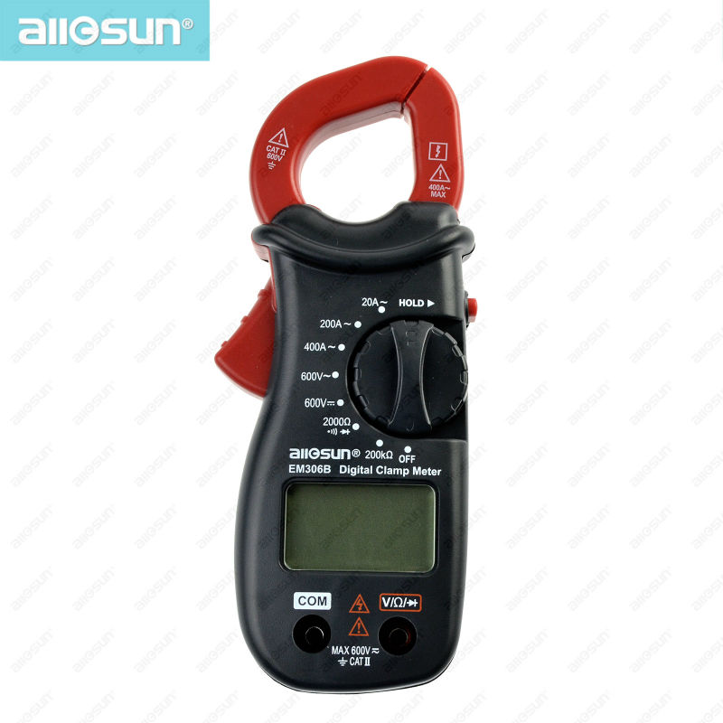 all sun EM306B Digital Clamp multimeter AC DC voltage current resistance Continuity Test With Buzzer Electronic