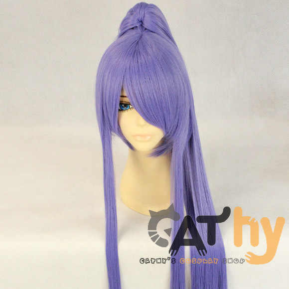 100cm Halloween patry VOCALOID Gakupo light purple wig synthetic hair ponytail cos peruca cosplay wig anime cos Harajuku wig hai