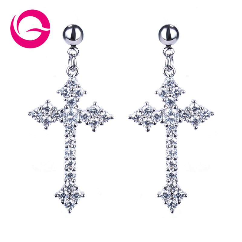 High Quality Inlaid Cross Dangle Earrings,New Listing Crystal Cross Earrings,Fashion Jewelry Earrings For Woman GLE3737(China (Mainland))