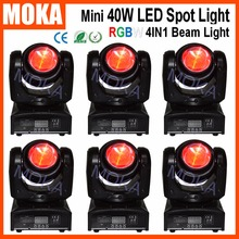 6 Pcs/lot 4 IN1 3 Degree 40W Mini LED Head Moving Beam Light DJ Display Power Consumption 55W Stage Professional Lighting - MOKA STAGE EQUIPMENT store