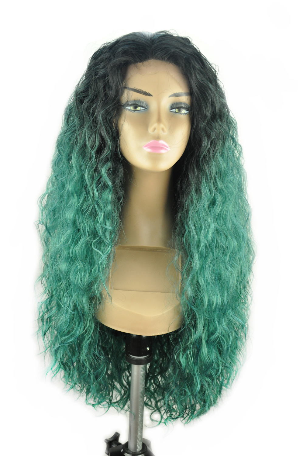 """16""""-30"""" Front Hand Knotted Fiber Synthetic Front Lace Wigs Body Wave Water Wave Ombre Piano T Color 1BT Green(China (Mainland))"""