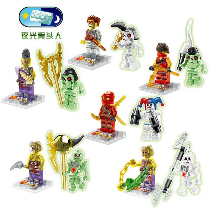 12pcs/set 2016 Glow Skull Ninjagoed Minifigures Building Blocks Kids gift Toys Figures Phantom Ninja Bricks toys Legoelieds(China (Mainland))