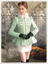 Original New 2016 Brand Autumn Winter Coat Slim Elegant Stand Fur Collar Plus Size Fashion Woolen Skirt Jacket Women Wholesale(China (Mainland))