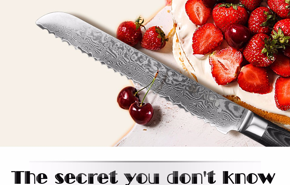 "Buy XINZUO high quality 8"" inch bread knife China cake knife Damascus stainless steel kitchen knife cook tool with Pakka wood handle cheap"