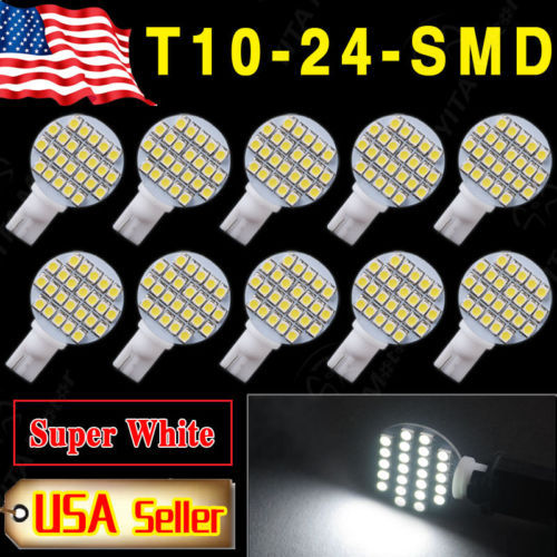 New 2015 LED Car 10pcs White Car RV Landscaping t10 Wedge 24-SMD led Light w5w 921 194 2825 168 Interior LED Bulbs for Cars 3528(China (Mainland))