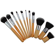 11Pcs set Professional Wood Handle Makeup Make Up Cosmetic Eyeshadow Foundation Concealer Brushes Set Tools 5W6R