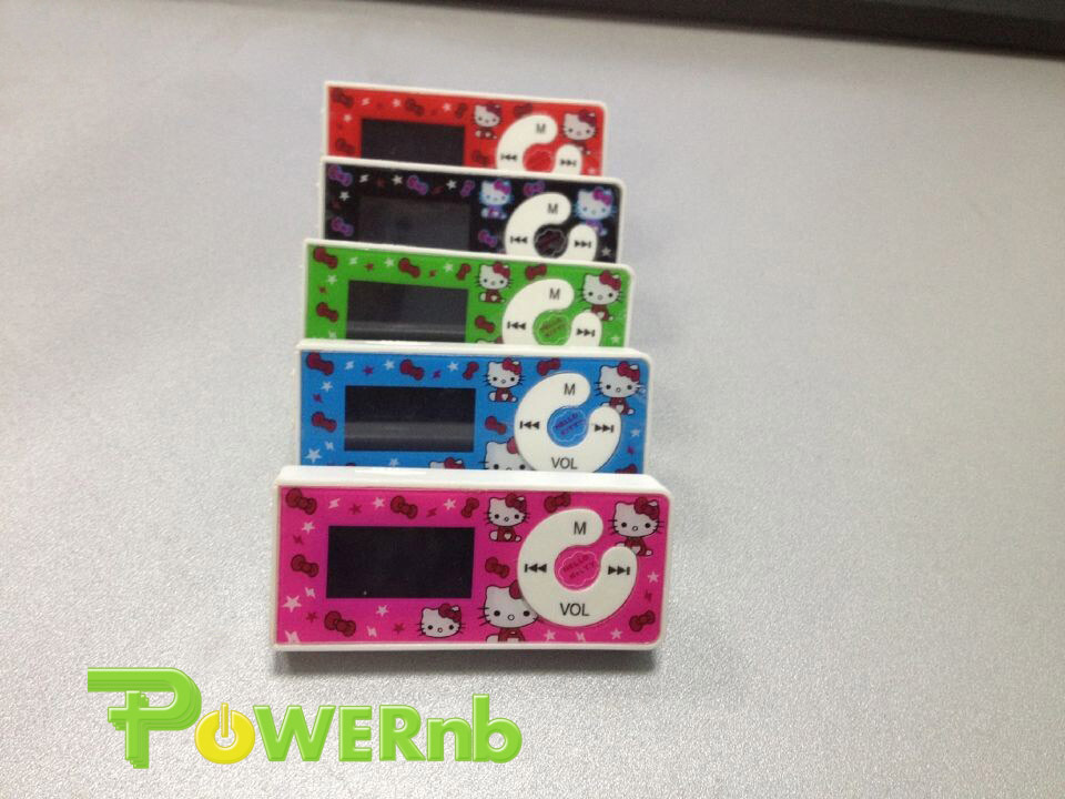 100% New Band Hot sale 1pcs/lot cheapest fashion mini clip hello Kitty MP3 player support With 8GB TF SD 5 colors Free shipping(China (Mainland))