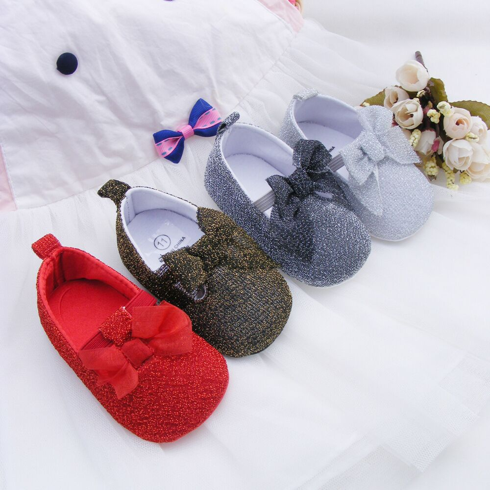2015 New Cute Newborn Baby First Walkers Shoes Girls Princess Big Bow Lovely Babe Infant Shoes Prewalker Shoes