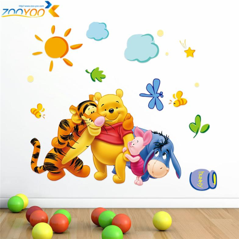 Гаджет  Winnie the Pooh and friends wall stickers for kids rooms ZooYoo2006 decorative adesivo de parede removable pvc wall decal None Дом и Сад