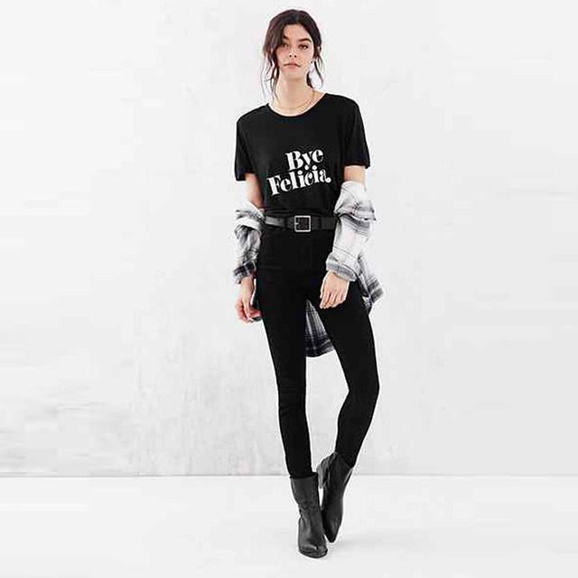 Новый 2016 женщин т - леди мода тис женщин письмо хлопок марка Высокое качество футболка роковой битник топы Bye Felicia отпечатки