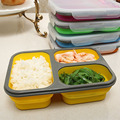 1100ML Ecofriendly Portable Collapsible Silicone Lunch Box Spoon Fork Microwave Safe Bento Foldable Food Container CFT081