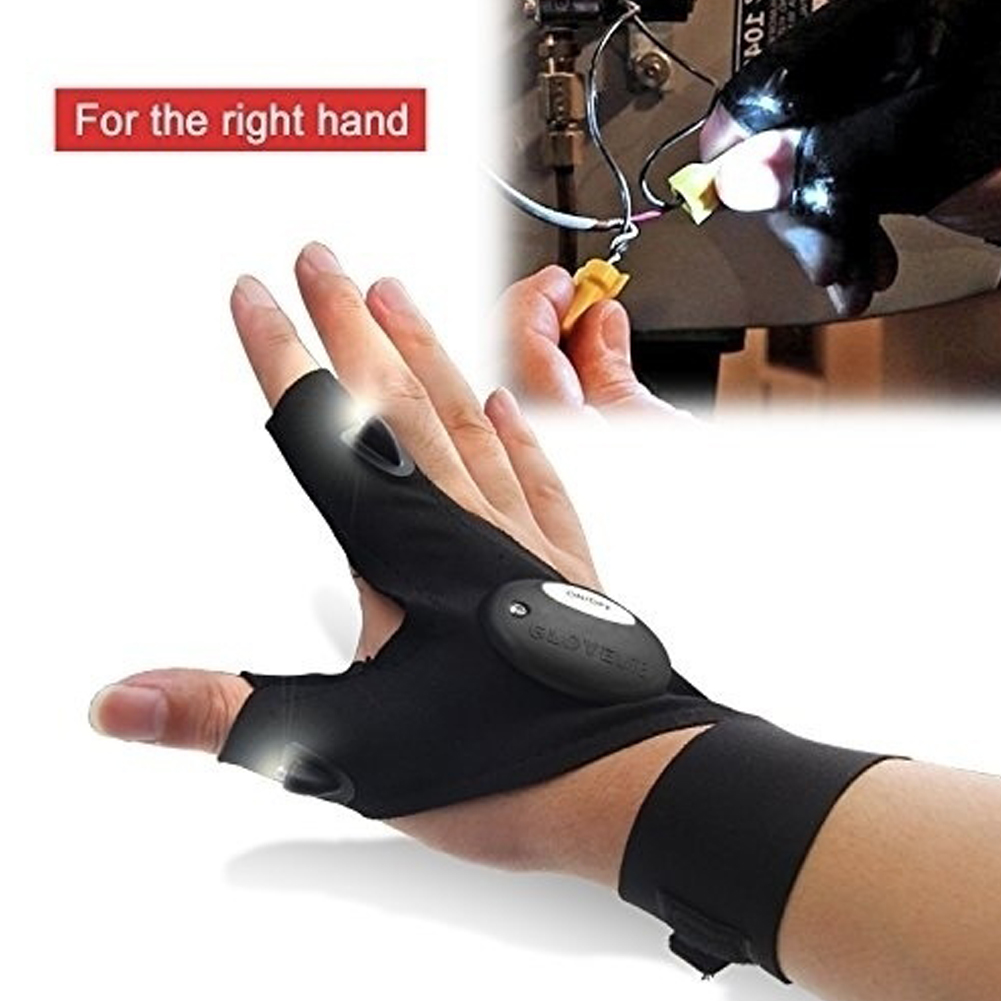 Outdoor Waterproof Fishing Rescue Working Gloves Fingerless Glove with Hands Free Led Flashlights Torch Index Finger Gloves HS(China (Mainland))