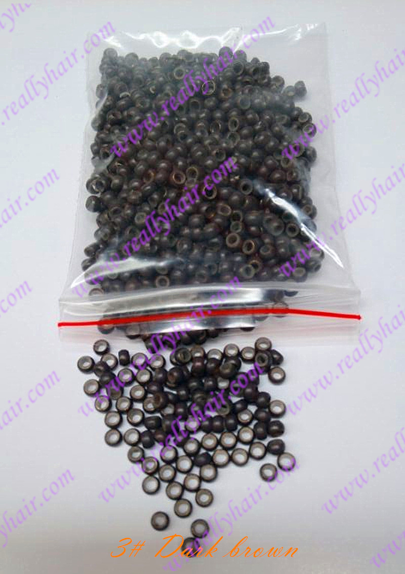 1000pcs Dark brown silicone micro nano bead with silicone line for Nano font b Hair b