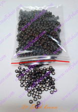1000pcs Dark brown silicone micro nano bead with silicone line for Nano Hair Extensions tool kit 7 Colors Optional