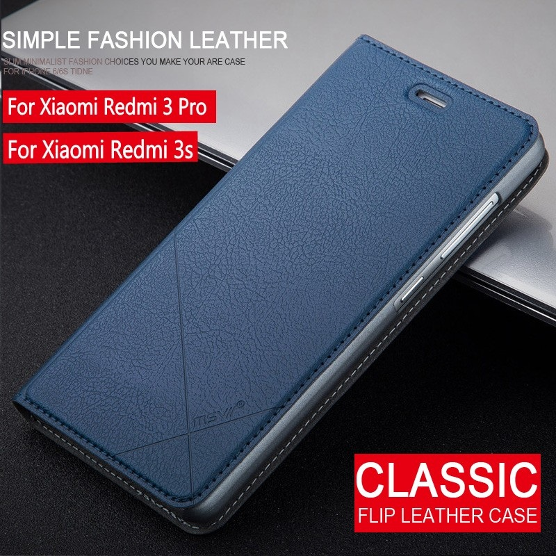 Msvii Xiaomi Redmi 3 Pro Case Flip Wallet PU Leather Phone Cover For Xiaomi Redmi 3s 3 s Case 5.0 Inch With Stand Luxury