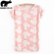 Mickey Printed White Portrait T Shirt Woman Summer Style Fashion Frayed Hole Style O-Neck Casual Pink Cute Cartoon Shirt(China (Mainland))