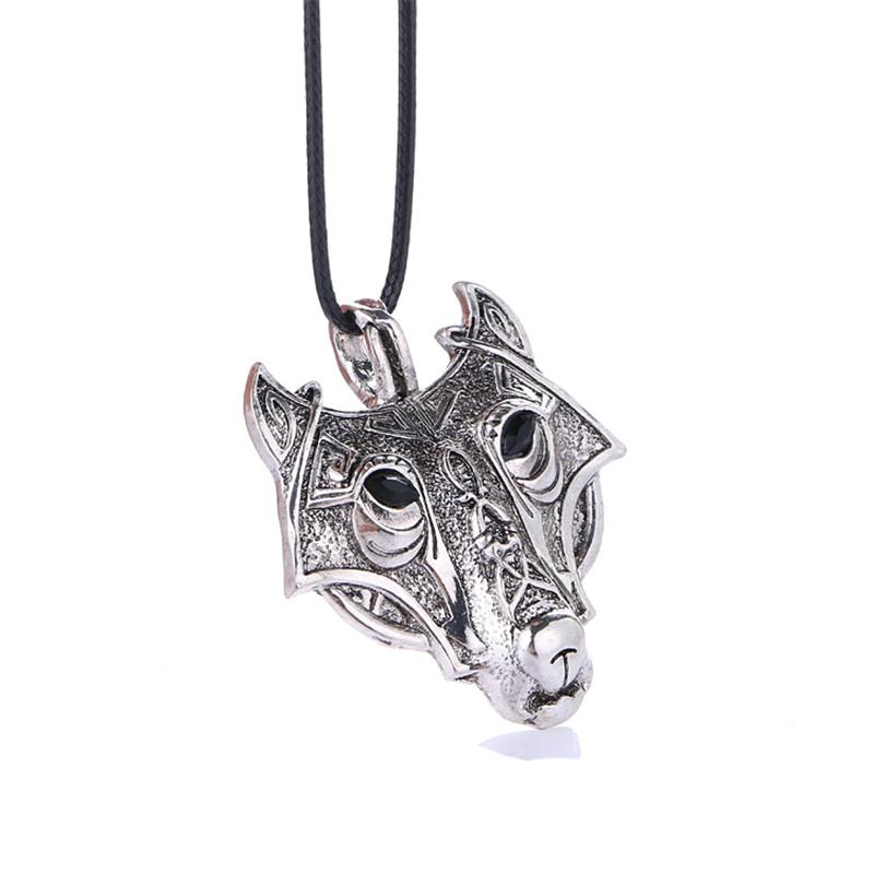2016 Fashion Norse Vikings Pendant Necklace Norse Wolf Head Necklace Original Animal Jewelry Wolf Head(China (Mainland))