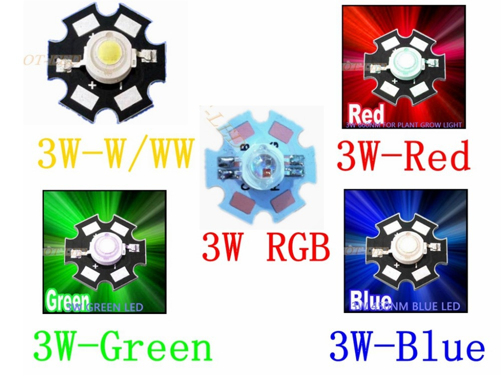 Freeshipping!10PCS 1W 3W High Power LED Chip light bead emitter Cool White Warm White Red Green Blue RGB with 20MM Star PCB(China (Mainland))