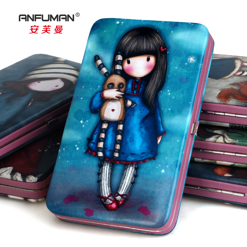 The trend of hand-painted doll girls hasp box Long Wallets cute cartoon color leather hand bag real leather sweet female wallets<br><br>Aliexpress