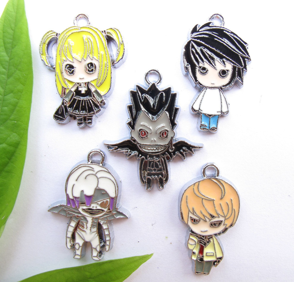 Mixed New 20Pcs Anime Cartoon Death Note Metal Charm Pendants DIY Jewelry Making Party Toy Gifts R-Y33(China (Mainland))