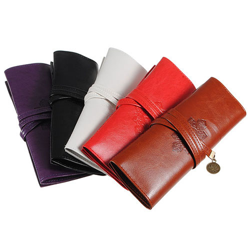 Hot Sale Vintage Retro Roll Faux Leather Make Up Cosmetic Pen Pencil Pouch Purse Bag 7K6U(China (Mainland))