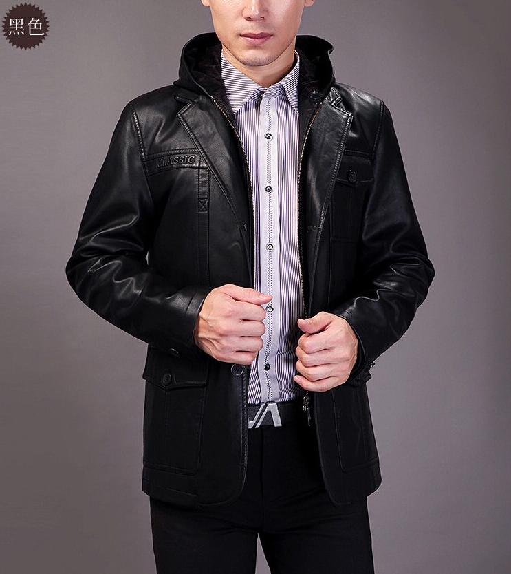 Free shipping!!! 2014 Brand mens clothing leather sheep skin even the cap locomotive leather jacketsÎäåæäà è àêñåññóàðû<br><br>