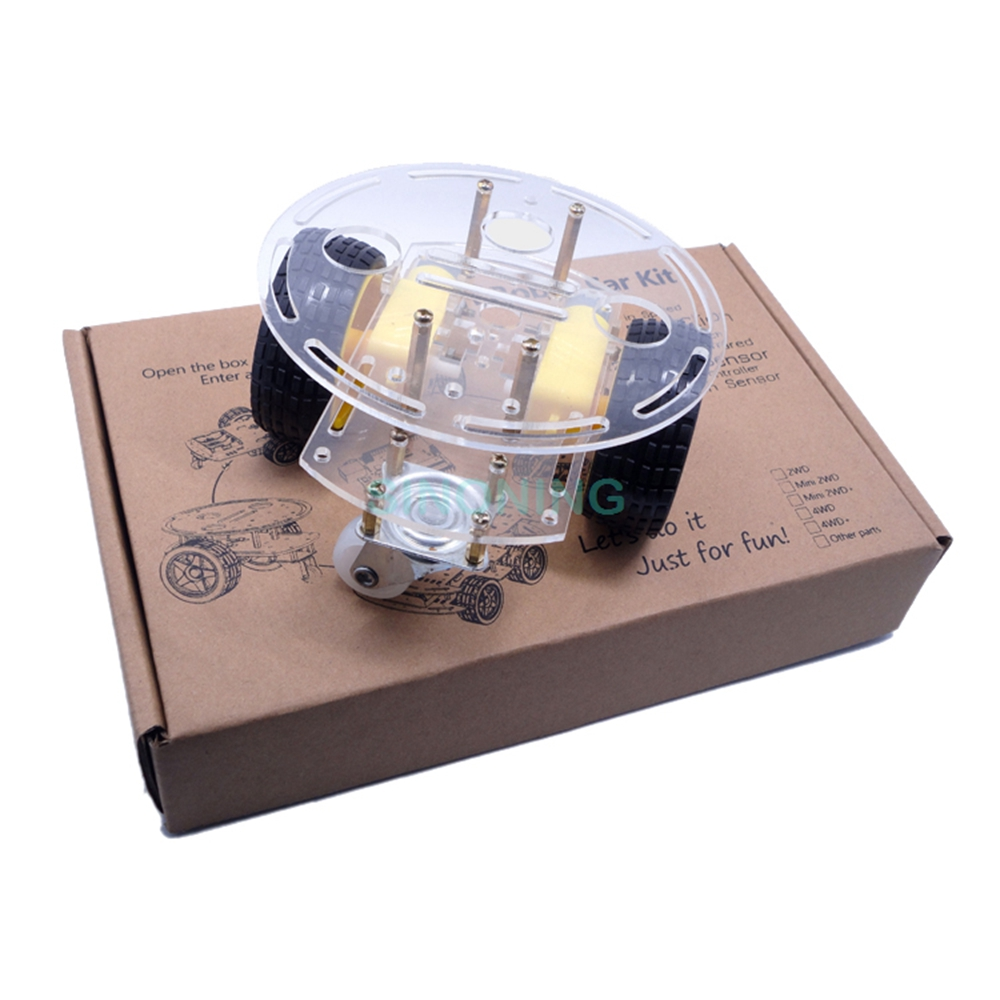 2WD wheel Motor Smart Robot Car Chassis KIT cool For Arduino Acrylic with gif box Free Shipping(China (Mainland))