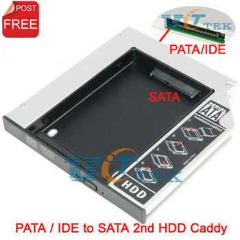 Universal 2nd HDD Caddy 12.7mm IDE to SATA Adapter For DELL HP ACER BENQ ASUS Laptop 12.7mm IDE PATA CD DVD ROM Optical Bay