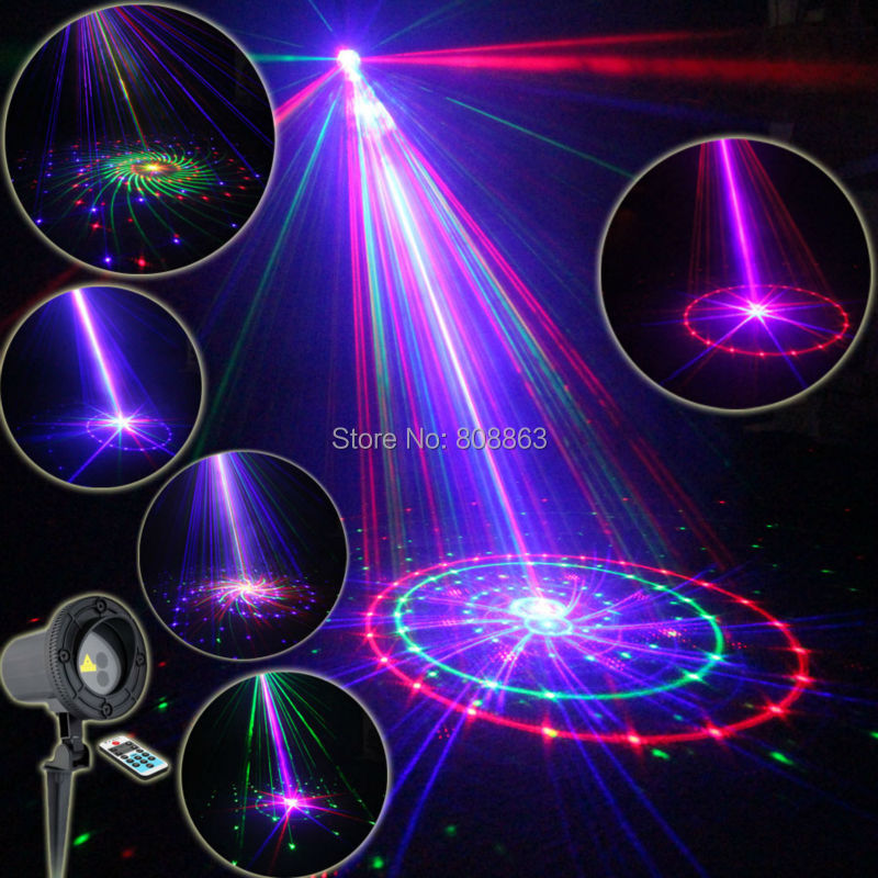 Eshiny Outdoor Waterproof RGB Laser 36 Patterns Projector Full Holiday House Party Xmas Tree DJ Wall Landscape Garden Light T61(China (Mainland))