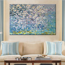 Large 100% Handpainted Flowers Tree Abstract Morden Oil Painting On Canvas Wall Art Wall Pictures For Live Room Home Decor(China)