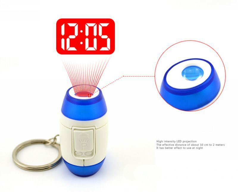 5pcs/lot Mini Round Portable Digital Projecting Projection Laser Pen Clock Watch Time Projector Clock with Keychain Blue(China (Mainland))