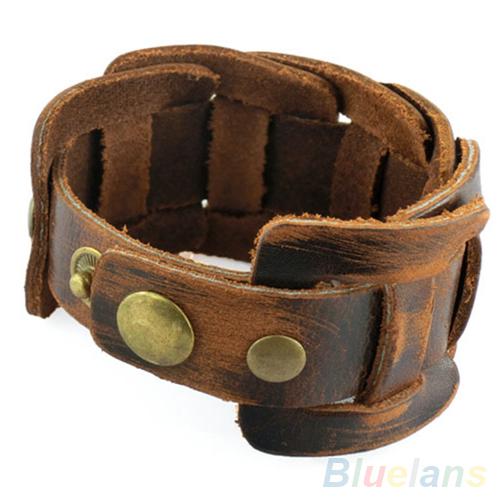Men Retro Weave Genuine Leather Belt Wristband Bangle Snaps Fastener Cuff Bracelet 28SZ