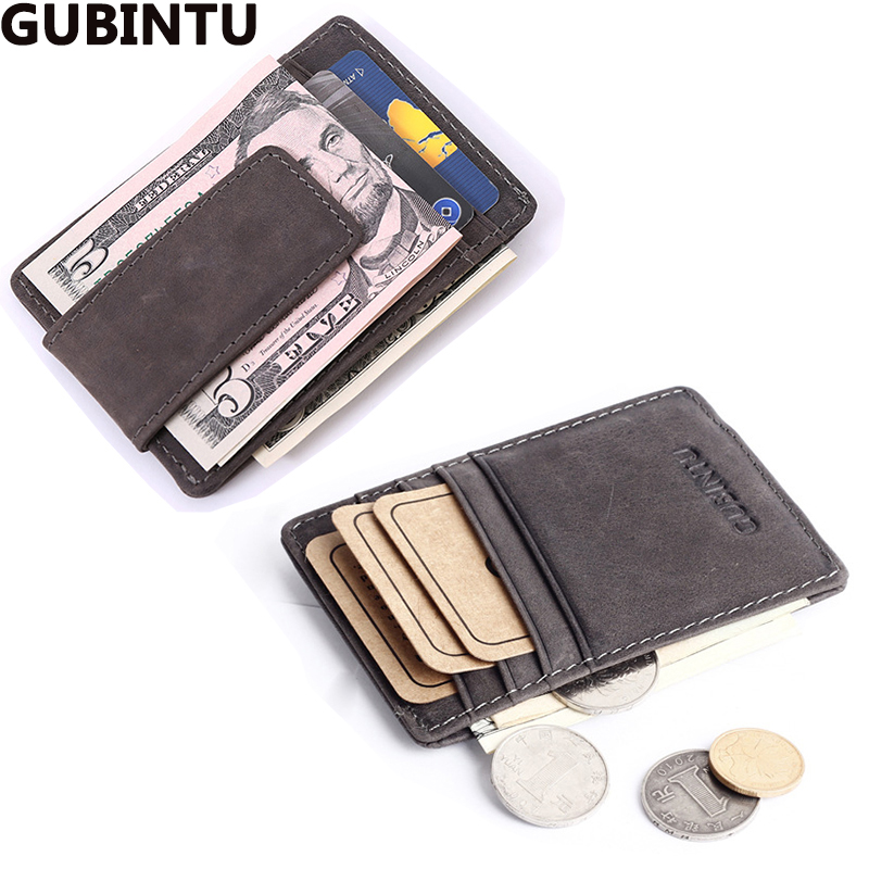 Top Quality men wallets money clip carteira vintage style leather money holder male clamp for money clip purse brand luxury(China (Mainland))