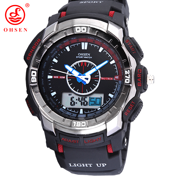 OHSEN Men Boy Quartz Watch Alarm Date Week Stopwatch Backlight Military Sport Watches Casual Rubber Wristwatch