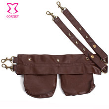 Brown/Black Faux Leather Steampunk Pocket Belt