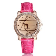 2016 New Rhinestones Watches Women Luxury Brand Womage Fahsion and Casual Ladies Watch Analog Leather Strap Quartz-Watch Saat