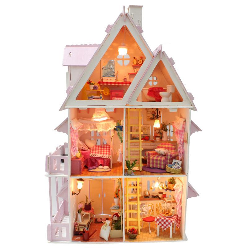 Hot Sale Diy Doll House Wooden Miniatura Doll Houses Miniature Dollhouse With Furniture Kit