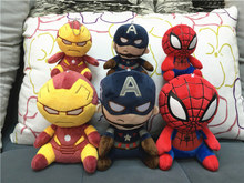 High Quality 10cm Superhero Stuffed Animals Cartoon 4 inch Spiderman Iron Man Captain America Plush Toys PP Cotton With Tag(China (Mainland))