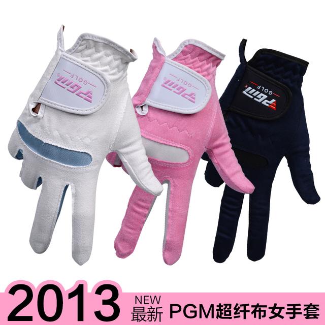 Free shipping Pgm golf ball gloves Women super-fibre cloth gloves soft breathable chromophous