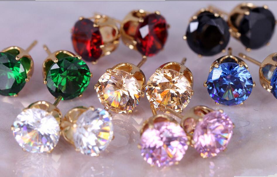 E032 Brinco News CZ Earing 8 Colors Bijoux Black Zircon Stud Earrings For Women Wedding Earings Girl Jewelry Pendientes(China (Mainland))
