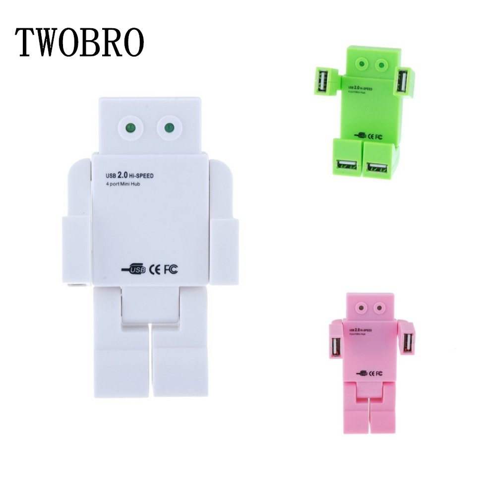Free Shipping NEW 2015 Robot USB Hub 2.0 High speed with 4 usb port for notebook Green Pink White(China (Mainland))